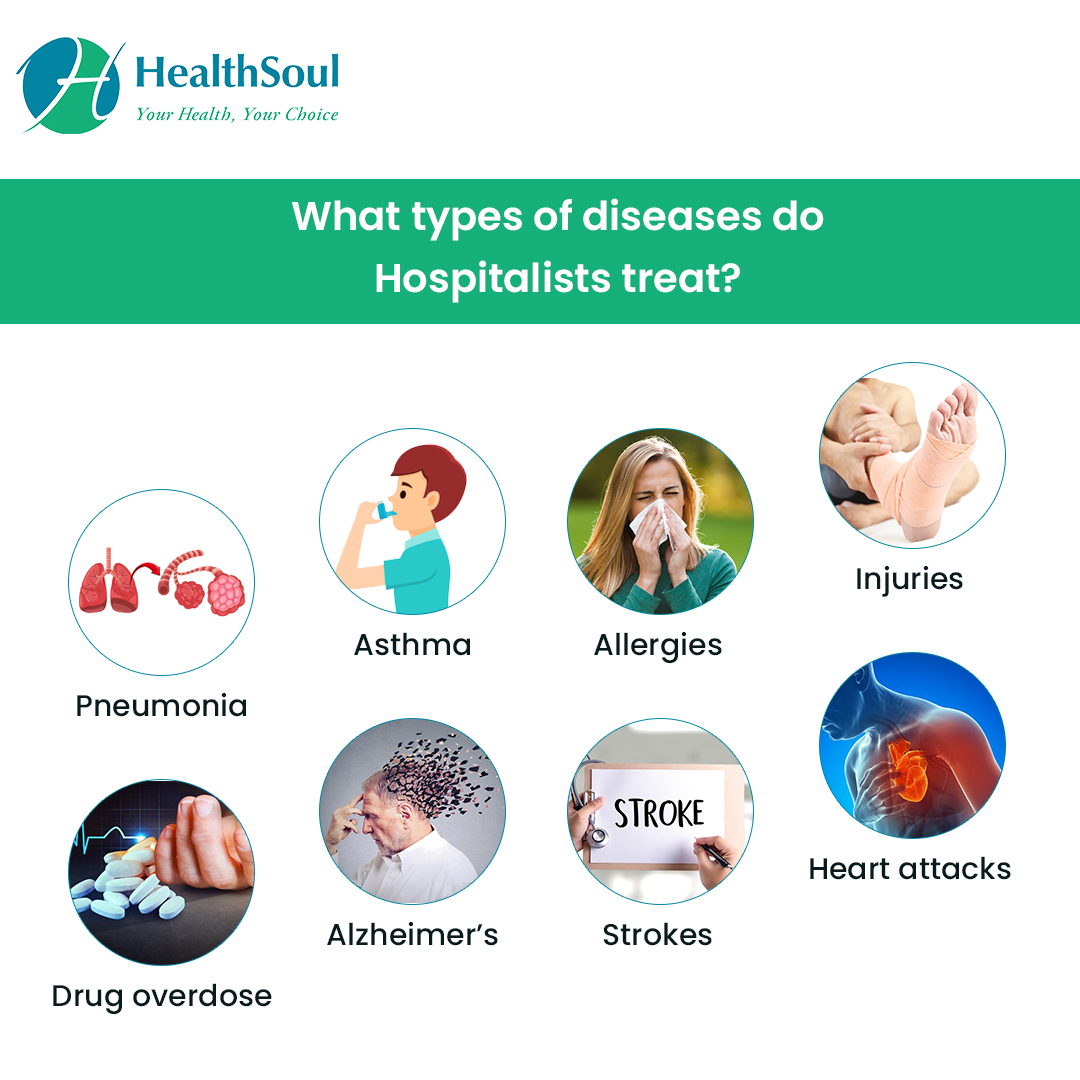 What types of diseases do Hospitalists treat?