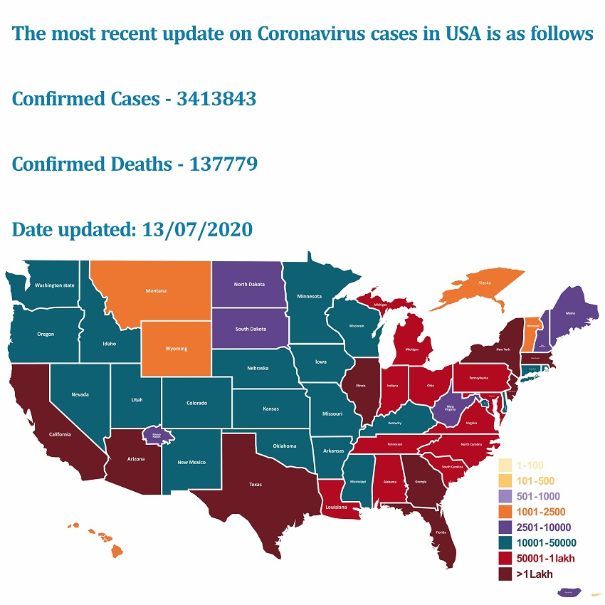 The most recent update on Coronavirus cases in USA | HealthSoul