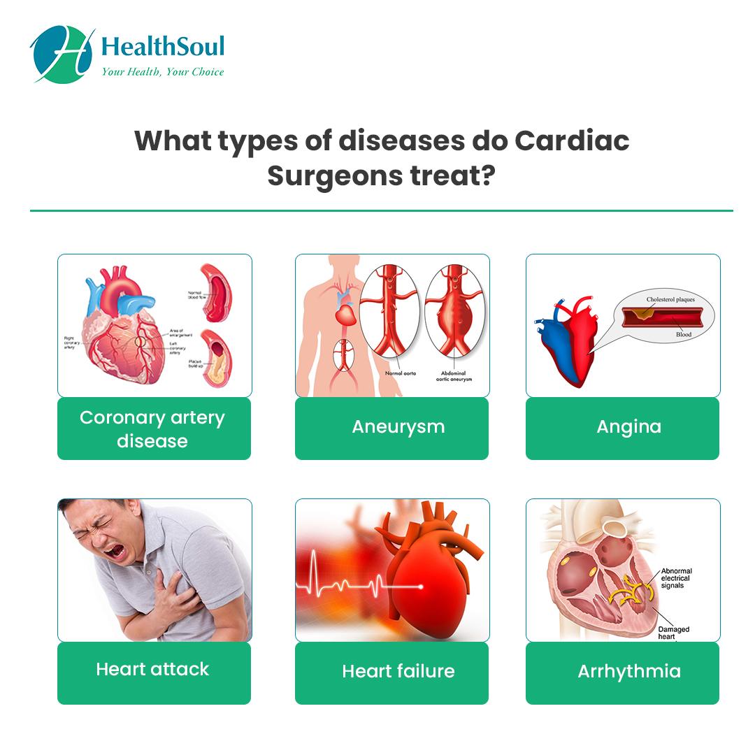 What types of Diseases do cardiac Surgeons treat?